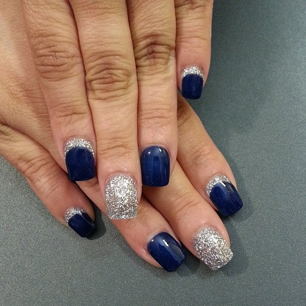 Stunning Blue Nail Art With Silver Coating