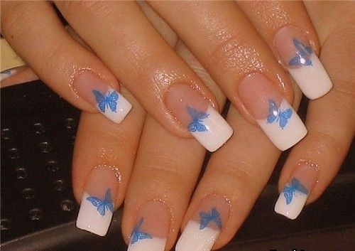 Stunning Butterfly Nail With White Color Tip