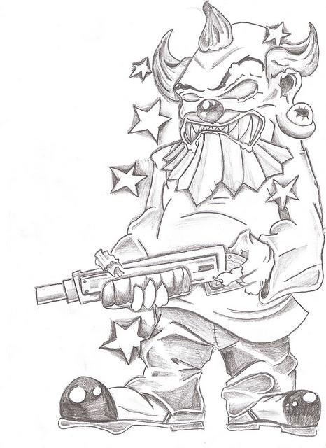 Stunning Gangsta Clown Tattoo Drawing For Boys