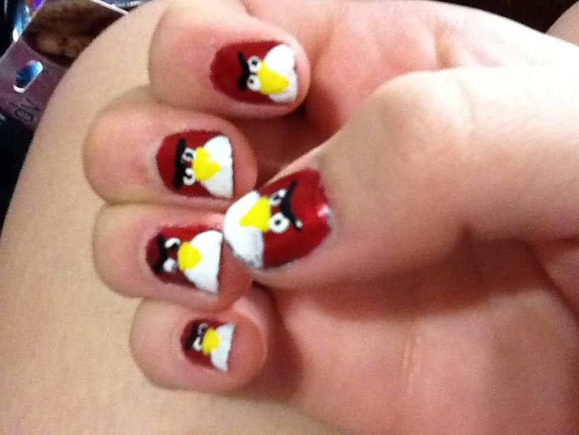 Stunning Red And White  Paint Angry Bird Nail Art Design