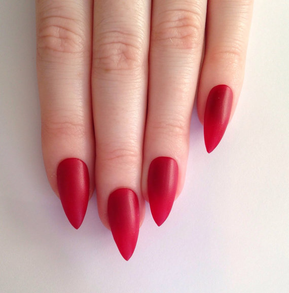 Stunning Stiletto Nails With Red Color Paint