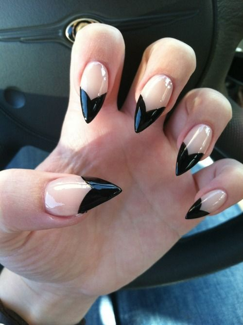 Stunning Stiletto Nails With V Shape Design