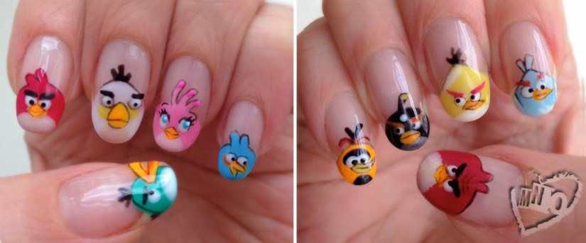 Stunning Tips With Angry Bird Nail Art Design