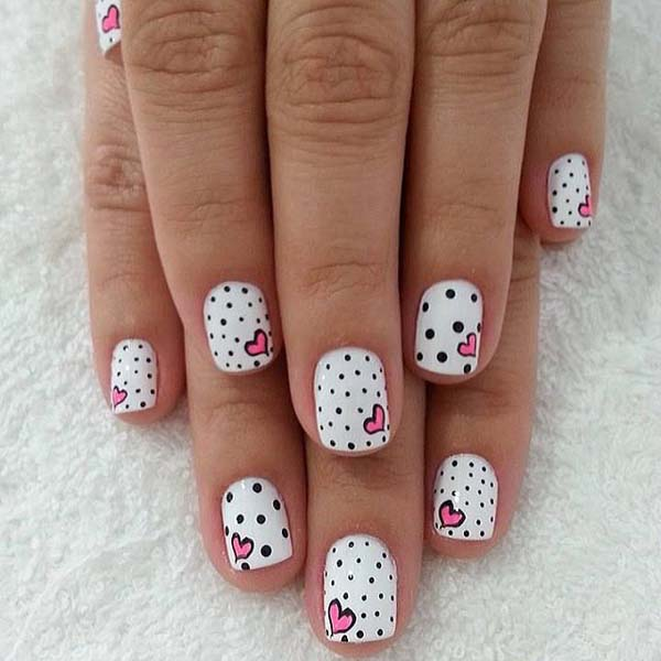 Super Cute Black And White Nail Art With Heart