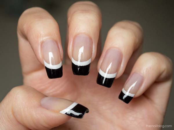 Superb Black French Tip Nails With Nude Nails