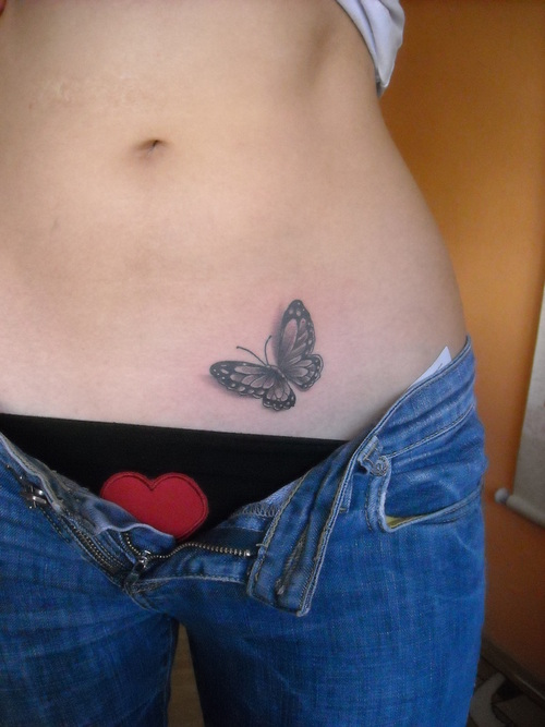 Superb Butterfly Tattoo On Hip For Women