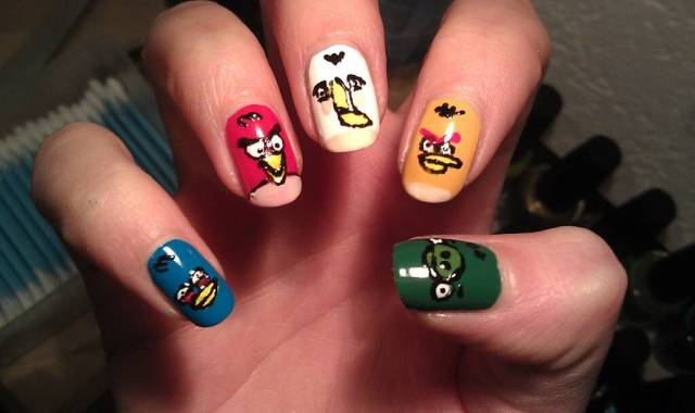 Superb Colorful Nail Design Angry Bird Nail Art Design