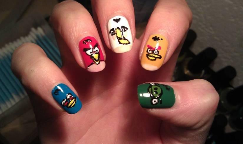Superb Colorful Nail Design Angry Bird Nail Art Design