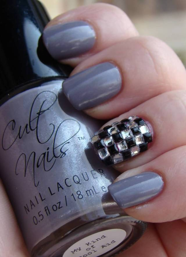 Superb Dark Silver And Black And White Stones Accent Nail Art