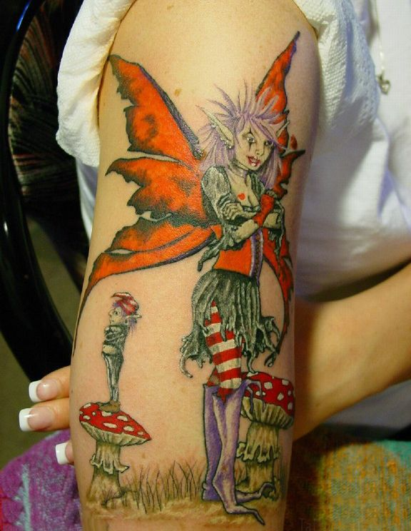 Superb Fairy Tattoo Design On Arm For Girls