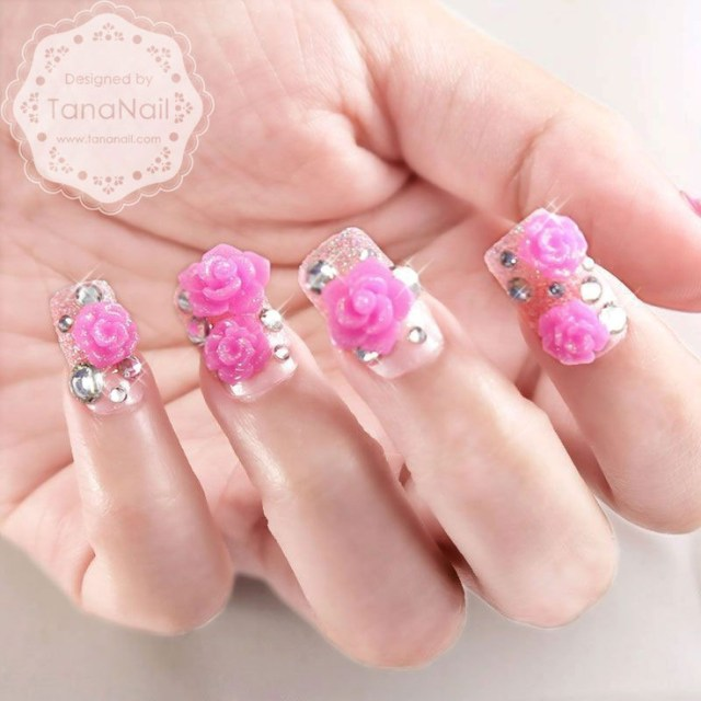 Superb Nail Art With Pink Flower And Diamond 3D Rose Flower Nail Art