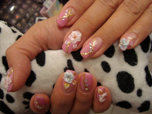 Superb Pink Color Flower 3D Rose Flower Nail Art