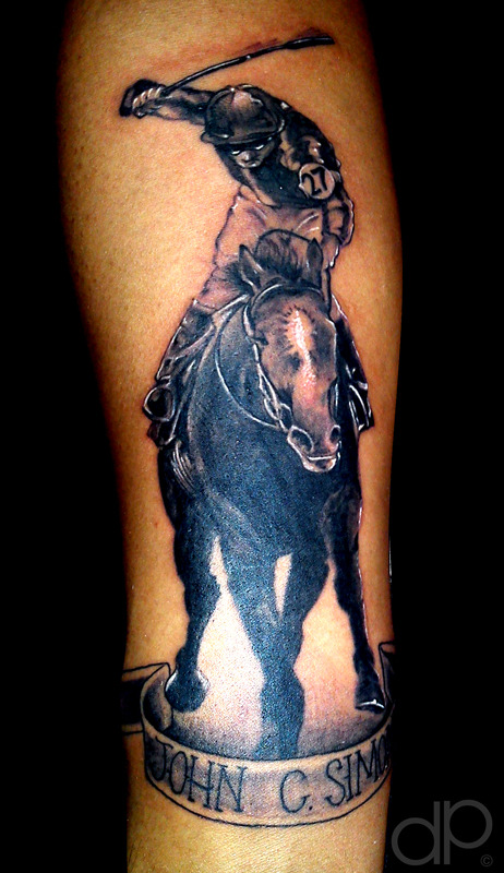 Sweet Horse And Jockey Thorough Bred Horse Racing Tattoo Design For Girls