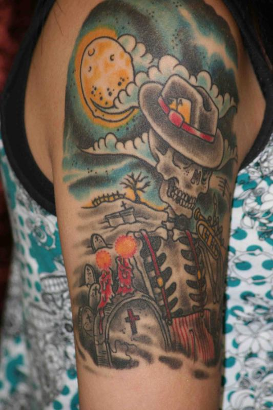 Sweet Sun n Skull Graveyard Tattoo Design On Shoulder For Boys