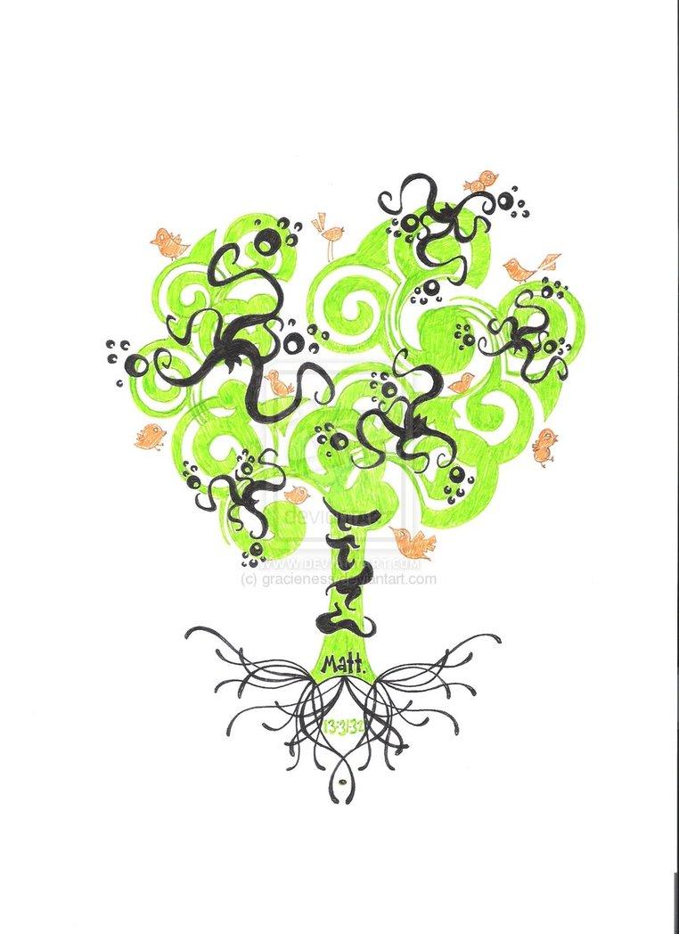 Terrific Funky Tree Tattoo Design For Boys