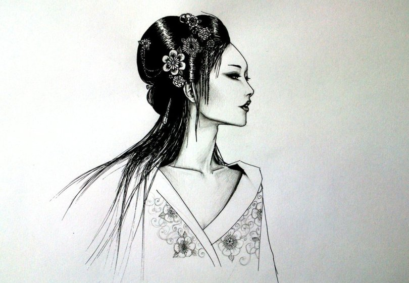 Terrific Geisha Girl Tattoo Design For Girls