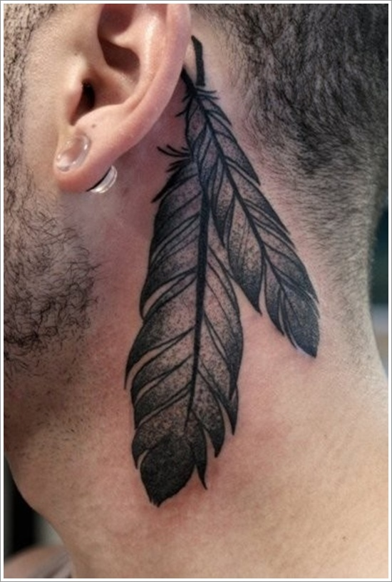 Terrific Native Feather Tattoo Designs On Behind Ear For Boys