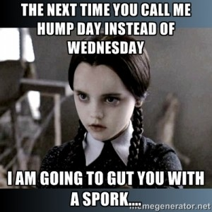 The Next Time You Call Me Hump Day Instead Of Wednesday I Am Going To Guy You with A Spork Meme Image