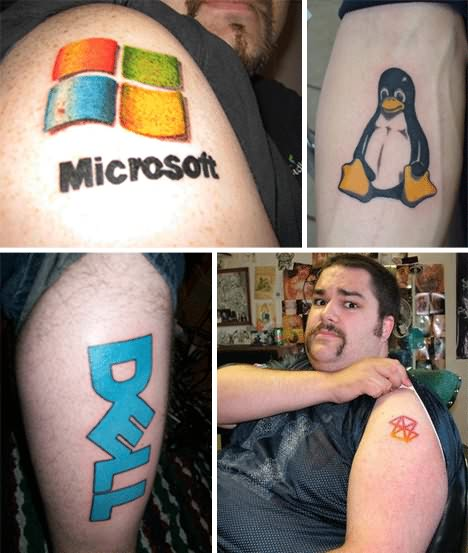 Traditional Geek Computer Logos Tattoo Pictures For Boys