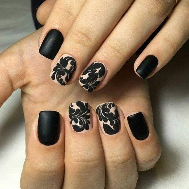 Tremendous Black And Beige Nail Art With Planet And Full Black Nail Design