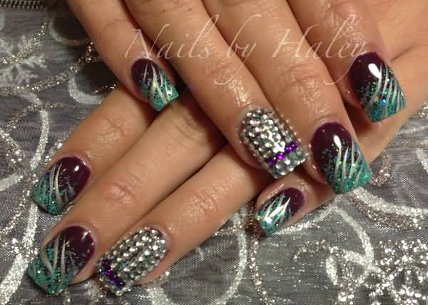 Tremendous Black And Rhinestone Accent Nail Art