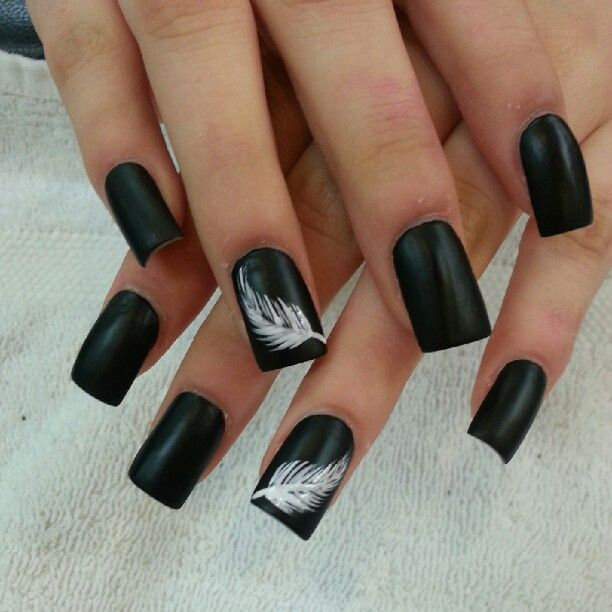 Tremendous Black Nail Art Design With Feather Design