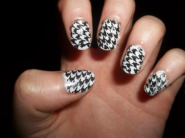 Tremendous Black Nail Art Design With White Color Nail Paint