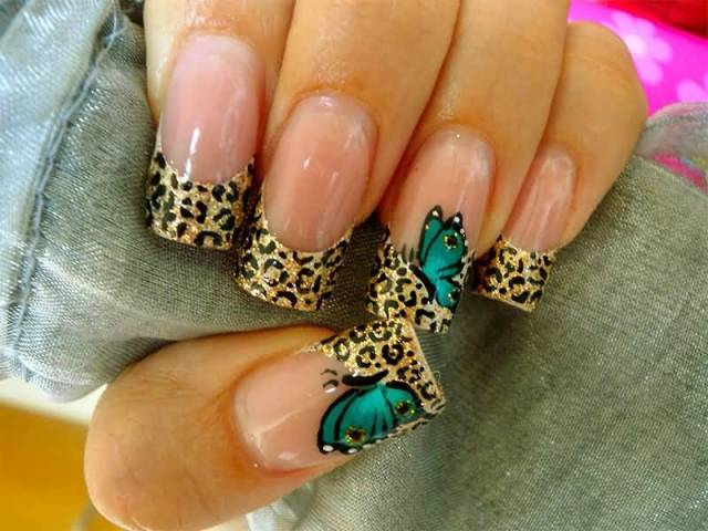 Tremendous Butterfly Nail With Tiger Print On Nail
