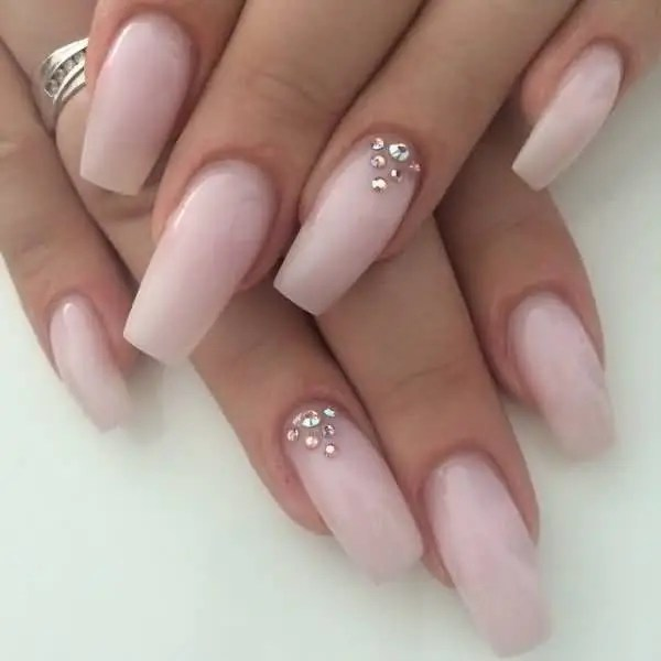 Tremendous Pink And Rhinestones Accent Nail Art