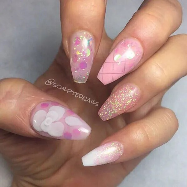 Tremendous Pink Nail Design In Pink Acrylic Nail Art Design