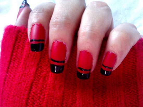 Tremendous Red And Black Nails With Black Tip