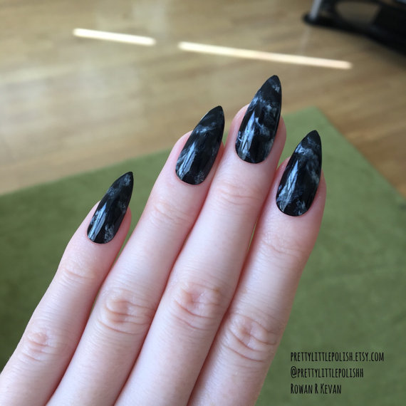 Tremendous Stiletto Nails With 2 Coting Color