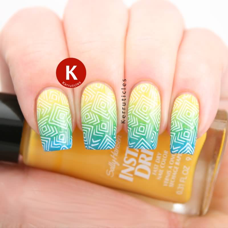 Tremendous Yellow And Blue Nails With Mixed Colors