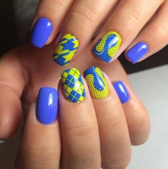 Tremendous Yellow And Blue Nails With Woolen Design