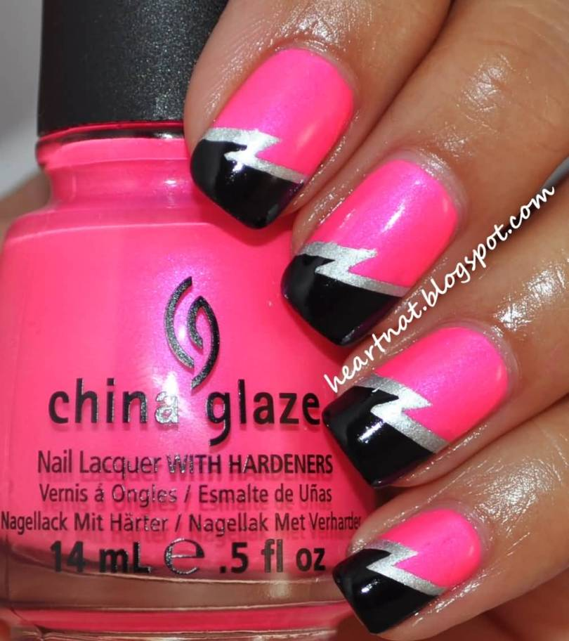 Trending Black And Pink Nails With Electric Symbol