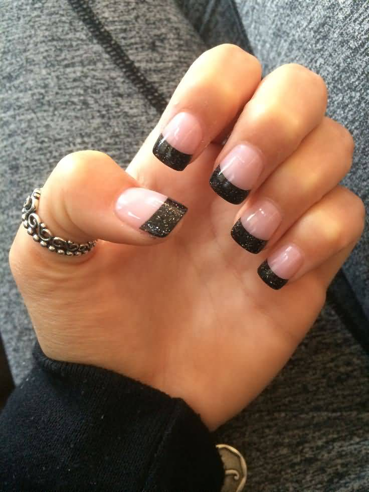 Trending Black French Tip Nails On Tips Only