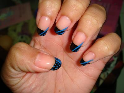 Trending Black French Tip Nails With Blue Color Design
