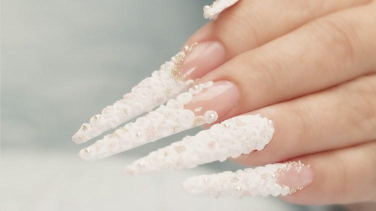 Trending Stiletto White 3D Rose Flower Nail Art