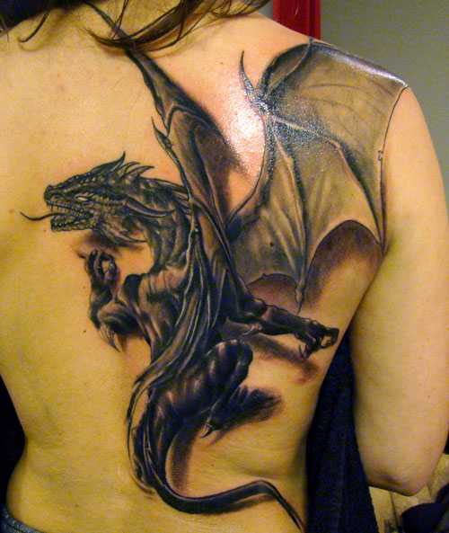 Trendy 3D Dragon Tattoo Design For Girls On Back For Girls
