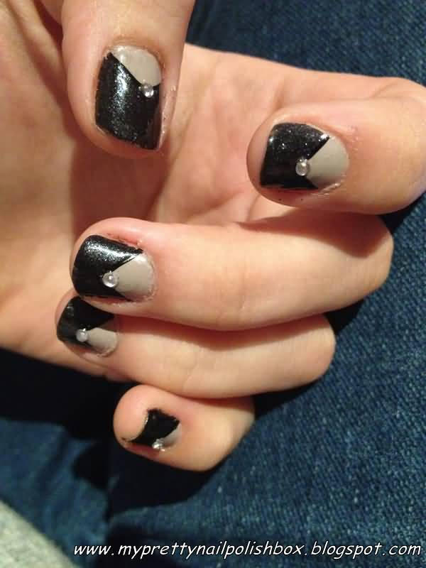 Trendy Black And Beige Nail Art With Crystal Design