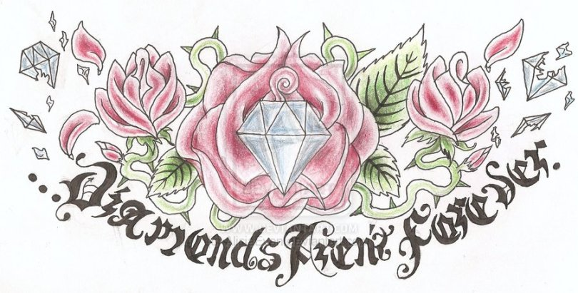 Trendy Diamond n Rose Tattoo Design For Girls