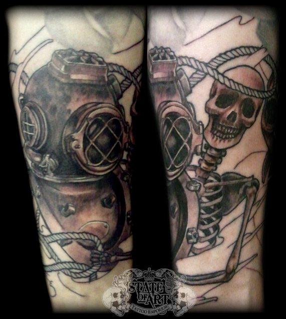 Trendy Diving Helmet And Skeleton Tattoos For Boys
