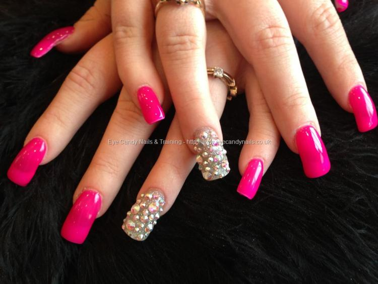Trendy Full Pink Color Paint Pink Acrylic Nail Design