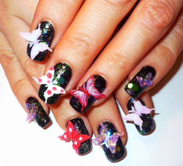 Ultimate Black Color Back Nail Paint With Butterfly 3D Rose Flower Nail Art