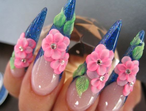 Ultimate Blue Tips And Pink Flower 3D Rose Flower Nail Art