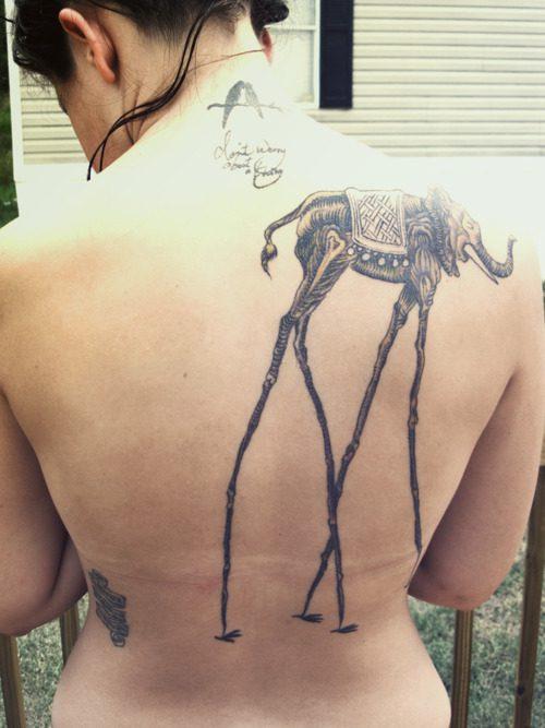 Ultimate Dali Elephant Tattoo On Back Of Shoulder For Girls