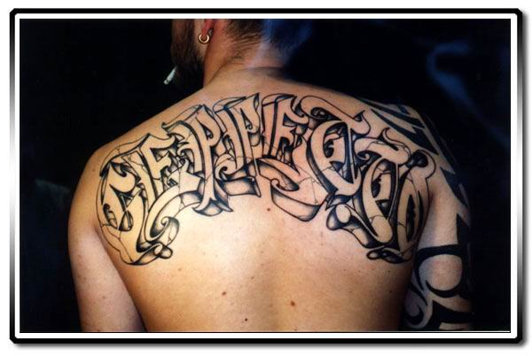 Ultimate Graffiti Tattoo Design On Back For Boys