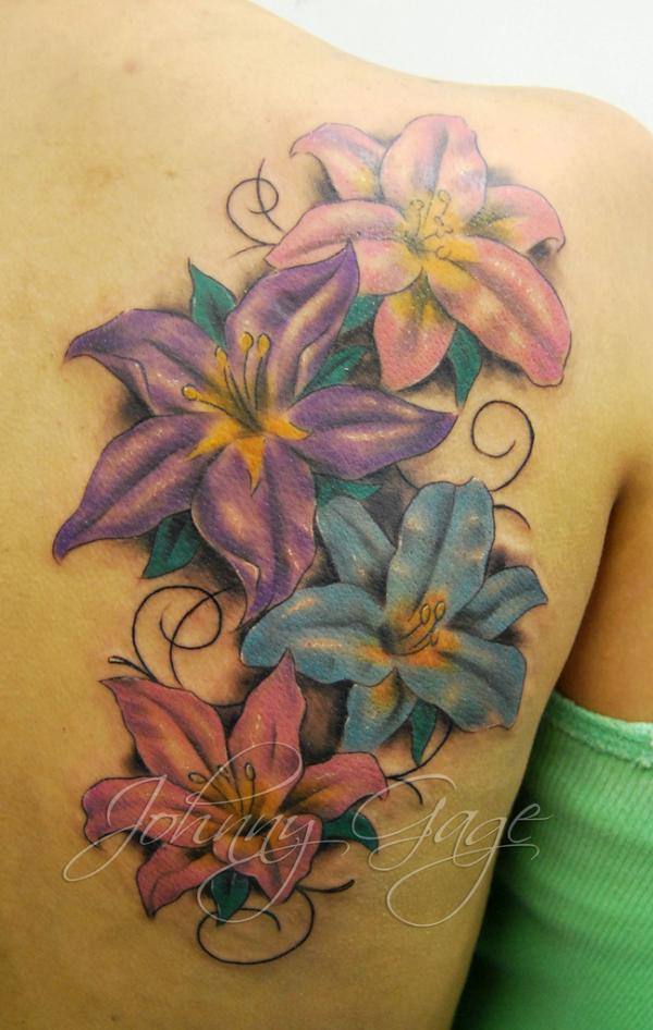 Ultimate Lily n Flourishes Tattoo On Back Shoulder For Girls