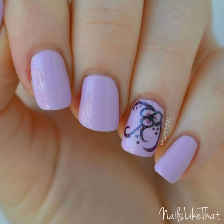 Ultimate Pink Color Paint With Black Flower Accent Nail Art