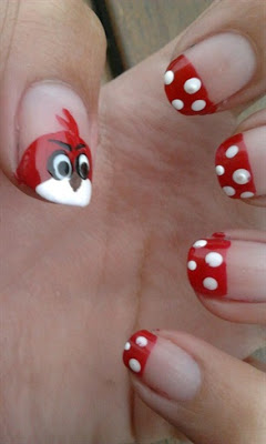 Ultimate Red Tip With Angry Bird Nail Art Design